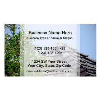 Wooden split shingle cupola sky tree sepia business card