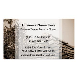 Wooden split shingle cupola sky tree sepia business cards