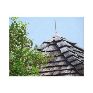 Wooden split shingle cupola sky tree sepia canvas print
