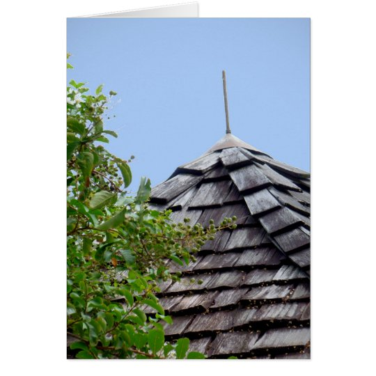 Wooden split shingle cupola sky tree sepia card
