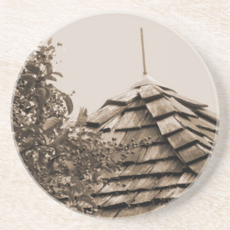 Wooden split shingle cupola sky tree sepia coaster