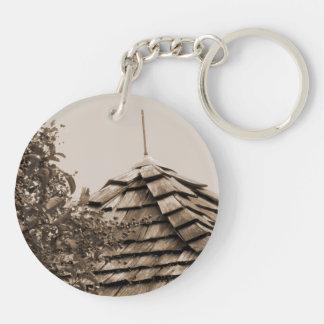Wooden split shingle cupola sky tree sepia Double-Sided round acrylic keychain