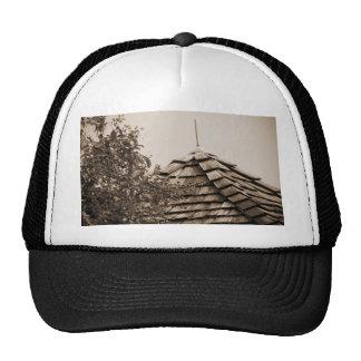 Wooden split shingle cupola sky tree sepia mesh hats