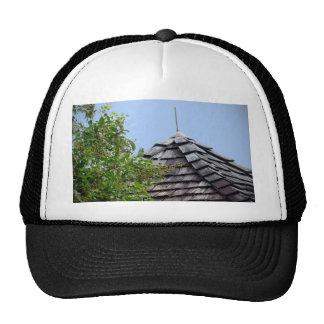 Wooden split shingle cupola sky tree sepia mesh hat