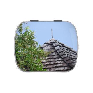 Wooden split shingle cupola sky tree sepia jelly belly tins
