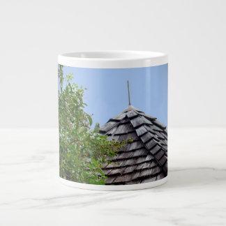 Wooden split shingle cupola sky tree sepia large coffee mug