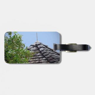 Wooden split shingle cupola sky tree sepia luggage tag