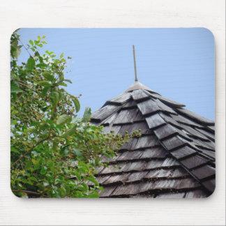 Wooden split shingle cupola sky tree sepia mouse pads