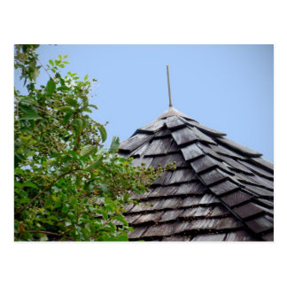 Wooden split shingle cupola sky tree sepia postcard