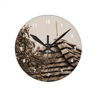 Wooden split shingle cupola sky tree sepia round clock