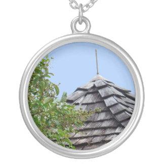 Wooden split shingle cupola sky tree sepia round pendant necklace