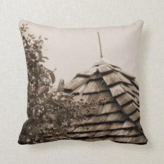 Wooden split shingle cupola sky tree sepia throw pillow