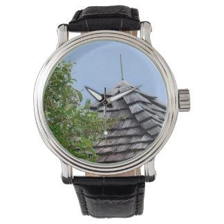 Wooden split shingle cupola sky tree sepia wristwatch