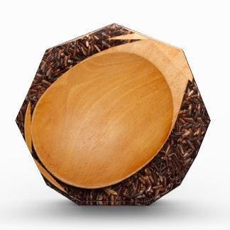 Wooden spoon on Thai Red Cargo rice Acrylic Award
