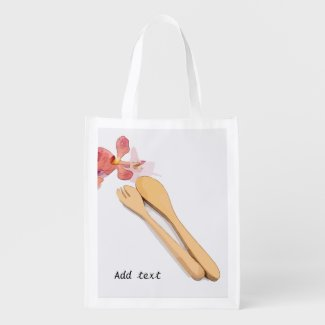 Wooden spoon with orchid flower grocery bag