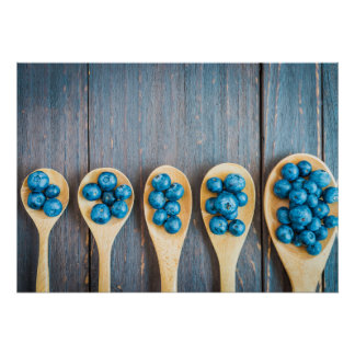 Wooden Spoons with Blueberries Poster