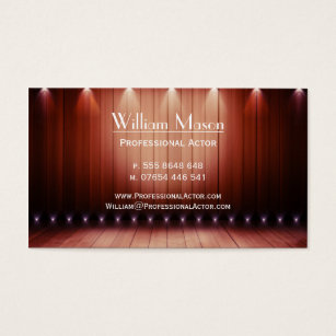 Acting drama business cards templates zazzle wooden spotlight stage actor business card colourmoves Gallery
