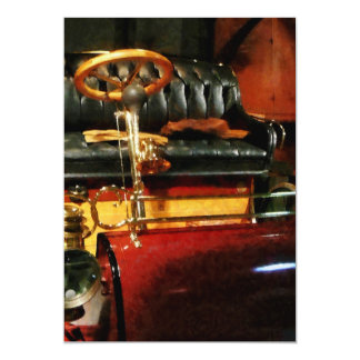 Wooden Steering Wheel on Old-Fashioned Car Card