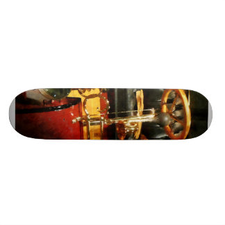 Wooden Steering Wheel on Old-Fashioned Car Skateboard Deck