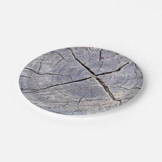Wooden stem piece paper plate