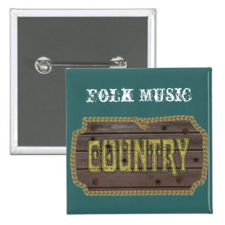 Wooden Style Country and Western 2 Inch Square Button