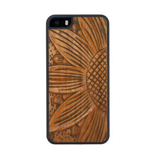 Wooden Sunflower Carved® Wood iPhone 5 5S Cases