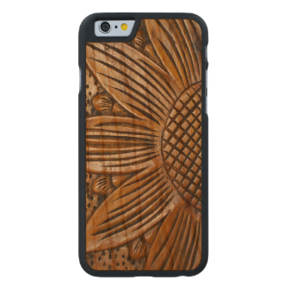 Wooden Sunflower Print Carved® Wood iPhone 6 Cases Carved® Walnut iPhone 6 Bumper Case