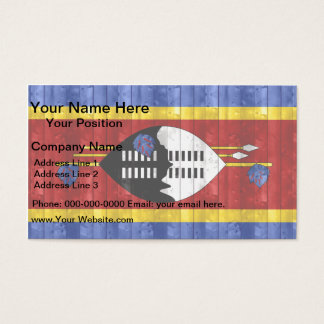 Wooden Swazi Flag Business Card