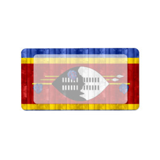 Wooden Swazi Flag Label