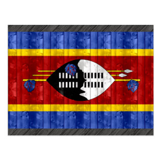 Wooden Swazi Flag Postcard