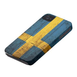 Wooden Sweden Flag iPhone 4 Cases