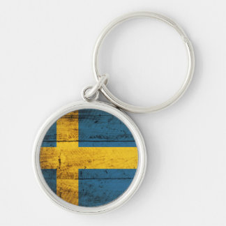 Wooden Sweden Flag Keychain