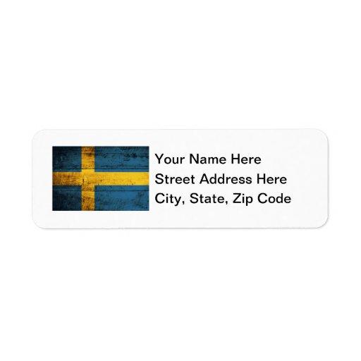 Wooden Sweden Flag Label