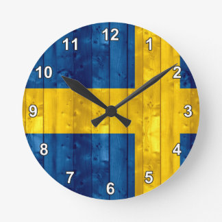 Wooden Swedish Flag Round Wall Clocks
