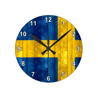 Wooden Swedish Flag Round Clock