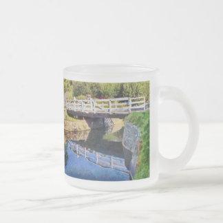 Wooden swing bridge frosted glass coffee mug
