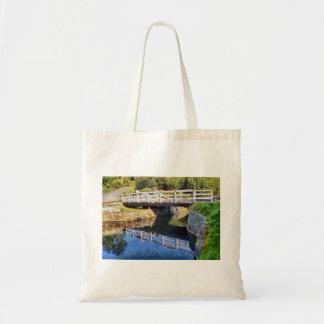 Wooden swing bridge tote bag