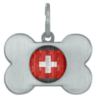 Wooden Swiss Flag Pet ID Tag