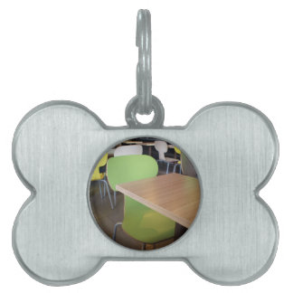 Wooden tables and chairs in a fastfood pet ID tag