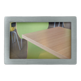 Wooden tables and chairs in a fastfood rectangular belt buckle