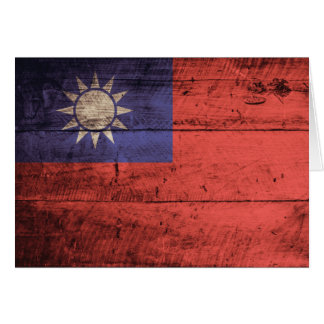 Wooden Taiwan Flag Card