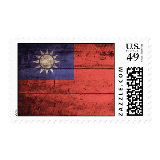 Wooden Taiwan Flag Postage Stamp