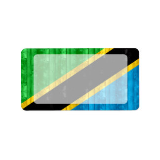 Wooden Tanzanian Flag Personalized Address Labels