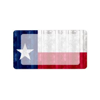 Wooden Texan Flag Personalized Address Label