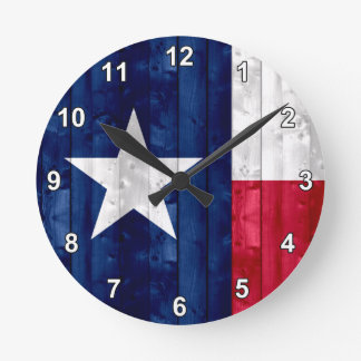 Wooden Texan Flag Round Clock