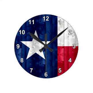 Wooden Texan Flag Round Clock
