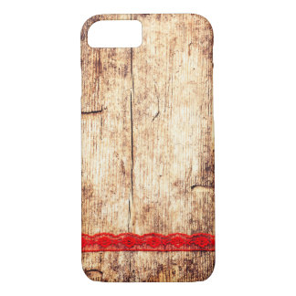 Wooden Texture Background. Red Ribbon. Gift Wrap iPhone 8/7 Case