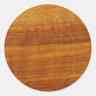 wooden texture classic round sticker