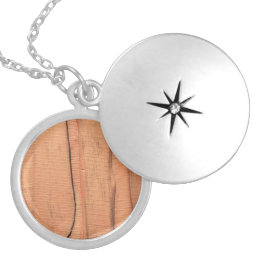 Wooden texture silver plated necklace