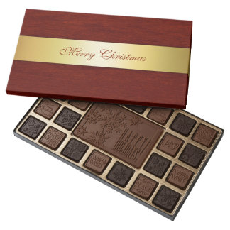 wooden texture with merry christmas wishes 45 piece box of chocolates